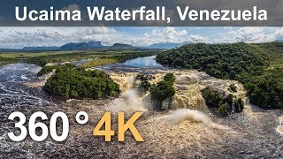 360°, Canaima Lagoon, Venezuela. Part I. Ucaima Waterfall. 4K aerial video