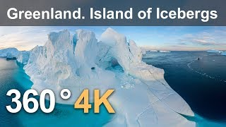 360 video, Greenland. Island of Icebergs. 4K aerial video