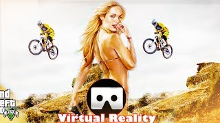 3D JUMPING FROM THE TOP OF A MOUNTAIN WITH A MOTORCYCLE -  VR Virtual Reality 3D SBS