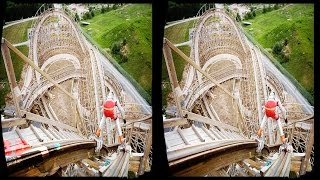 3D AWESOME WOODEN ROLLER COASTER -VR Videos 3D SBS [Google Cardboard VR] Virtual Reality VR Box
